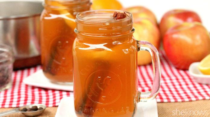Hot spiced apple cider with a