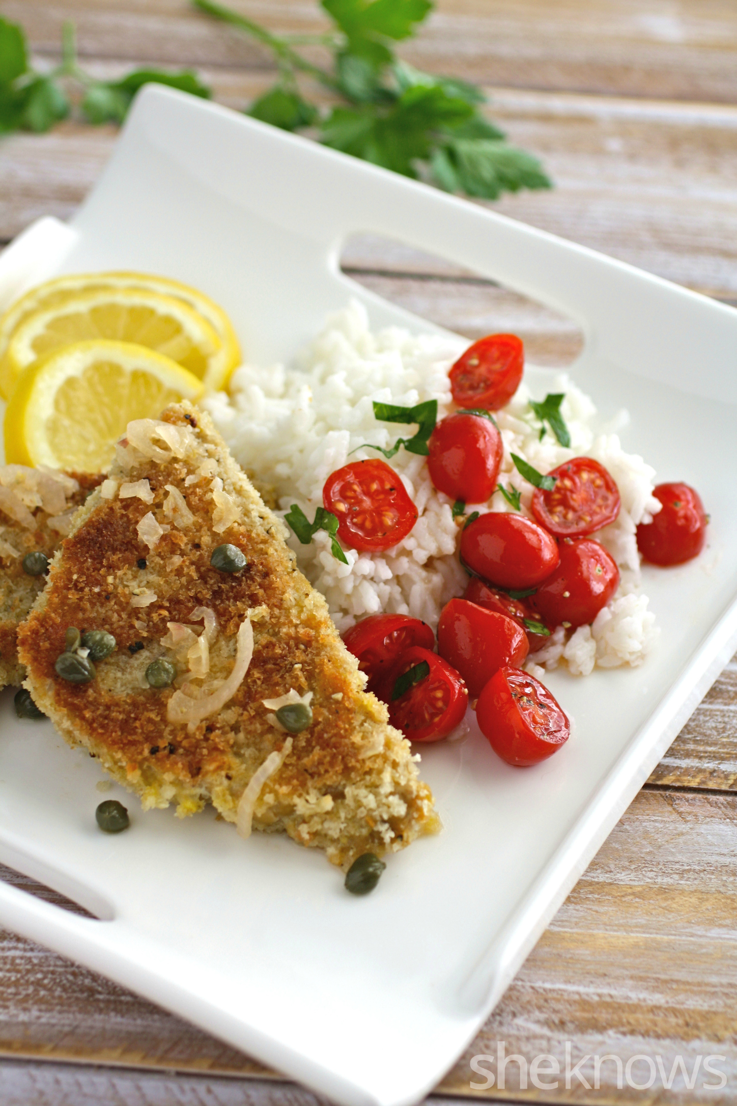 Serve a classic on a Meatless Monday: lemony tempeh scallopini with shallots is a delight