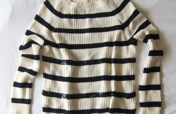 DIY holiday sweater with sequin stripes