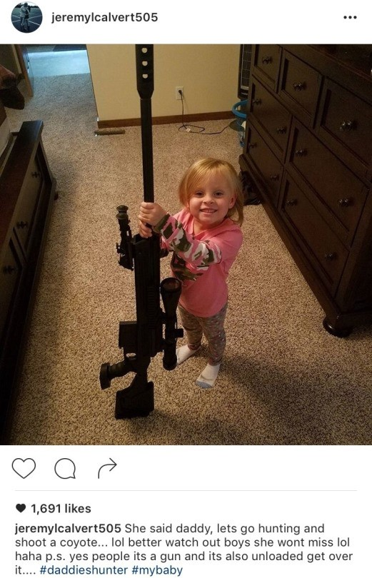 Jeremy Calvert daughter holding .50 cal sniper rifle