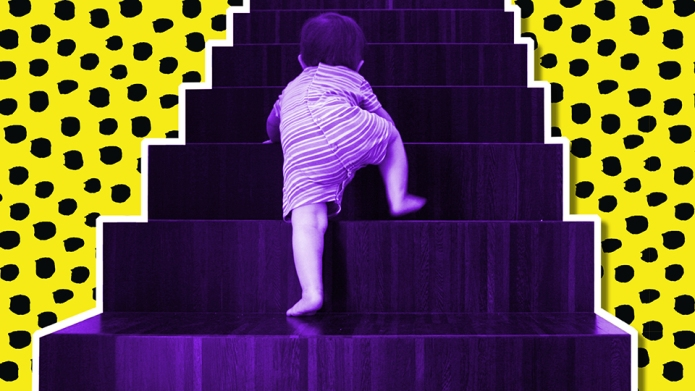 toddler climbing the stairs
