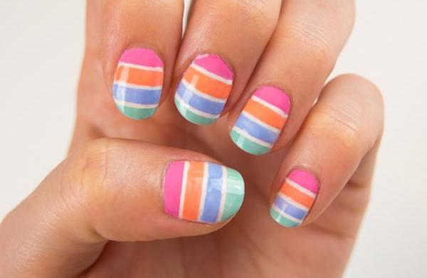 Pastel striped nail art tutorial