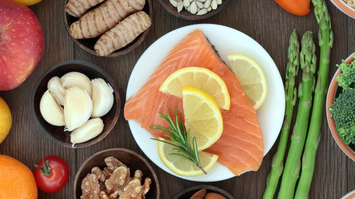 Salmon and an array of healthy