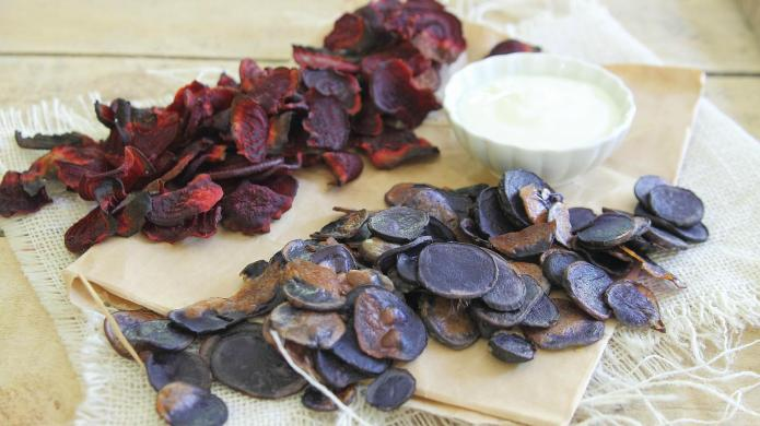 Red beet and blue potato chips