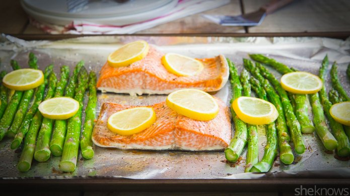 One-pan roasted lemon salmon with asparagus,