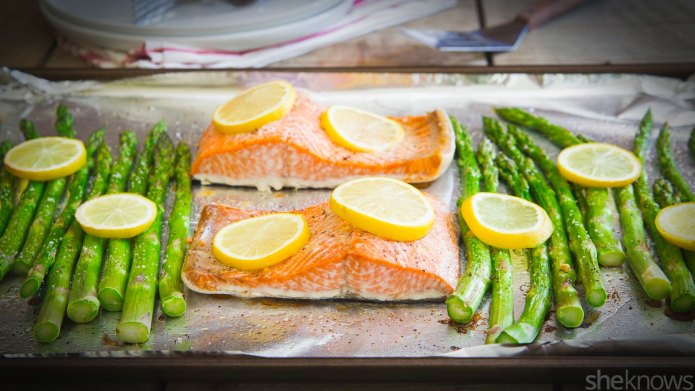 One-pan roasted lemon salmon with asparagus,
