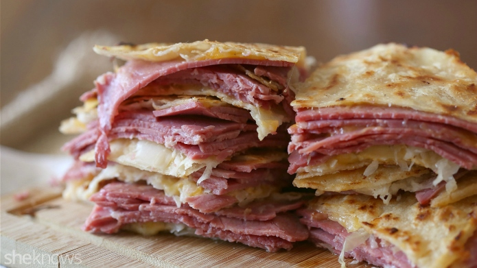 Corned beef and cabbage quesadilla is