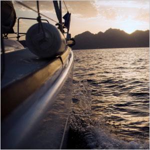 Yacht sailing on the mediterranean sea.