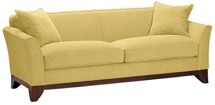 Loving this now: Welcome spring in style with this buttery yellow sofa, the perfect anchor piece for your living or famiy room (potterybarn.com, $1399 to $1899).