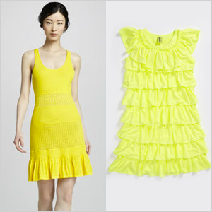Neon yellow dresses
