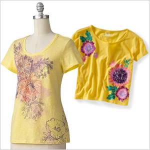 Floral yellow tees