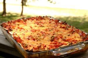 Layered enchilada casserole
