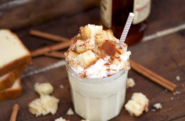 Eggnog milkshake with boozy pound cake
