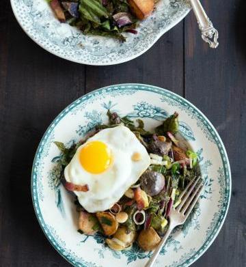 Warm dandelion greens potato salad