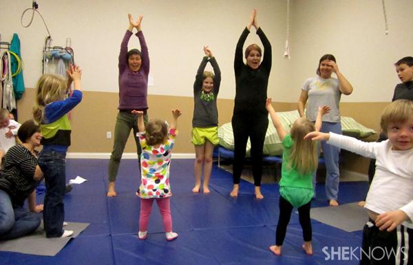 Yoga group stretch