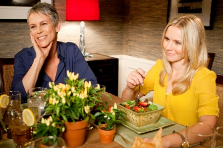 Jamie Leigh Curtis and Kristen Bell put on a happy face