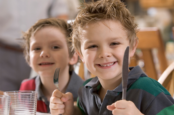 Young boys with table manners