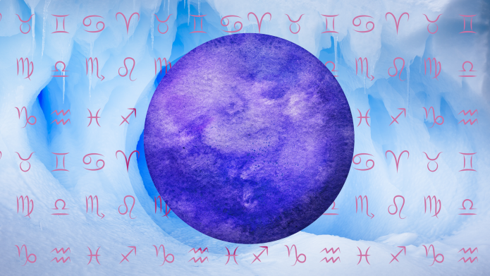 Zodiac signs against blue watercolor background