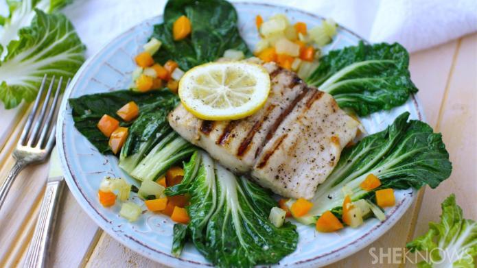 Light, fresh, gluten-free fish dinner: Grilled