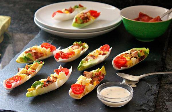 Cobb salad endive boat recipe