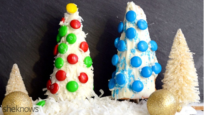 Candy-coated ice cream cone Christmas trees