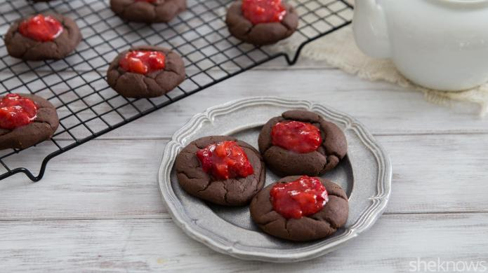 Boozy fudge thumbprint cookies are the