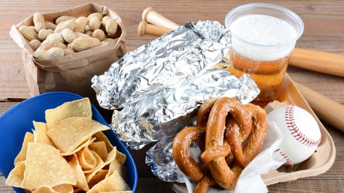 Food and Souvenirs at a Baseball