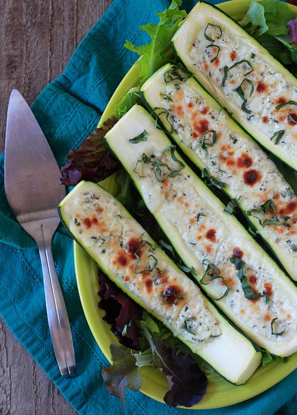 White pizza stuffed zucchini boats