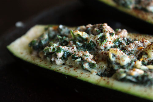 cheesy turkey kale zucchini boats