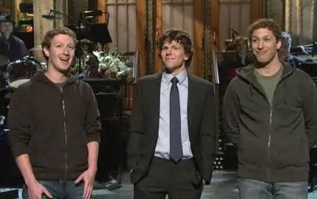 Mark Zuckerberg, Jesse Eisenberg and Adam Sanberg on SNL!