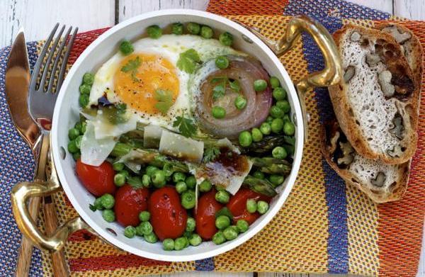 Breakfast skillet with egg, vegetables &