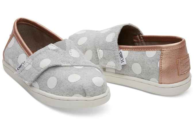 Tiny Toms Classics in Drizzle Grey With Polka Dots