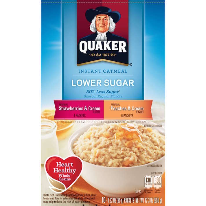 10 Instant Oatmeals That Aren't Packed With Sugar (& Your Kids Will Actually Eat): Quaker Lower Sugar Fruit and Cream