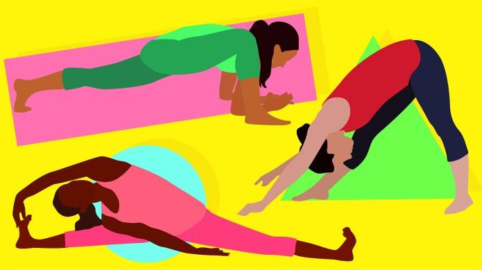 three women stretching