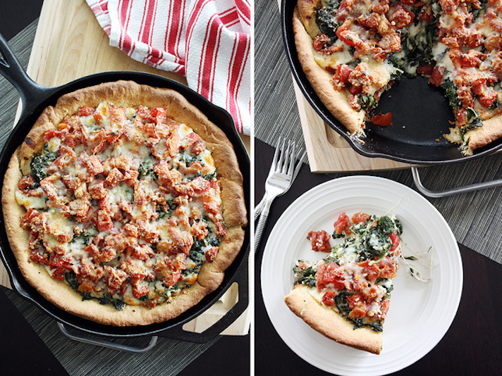 13 Easy Pizza Recipes That Make Great Dinners: Deep-Dish Spinach-Tomato Pizza