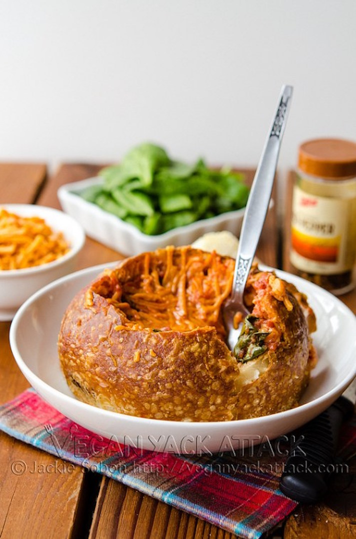 12 Easy Recipes You Can Serve In a Bread Bowl: Tomato Spinach Grilled Cheese Bread Bowl