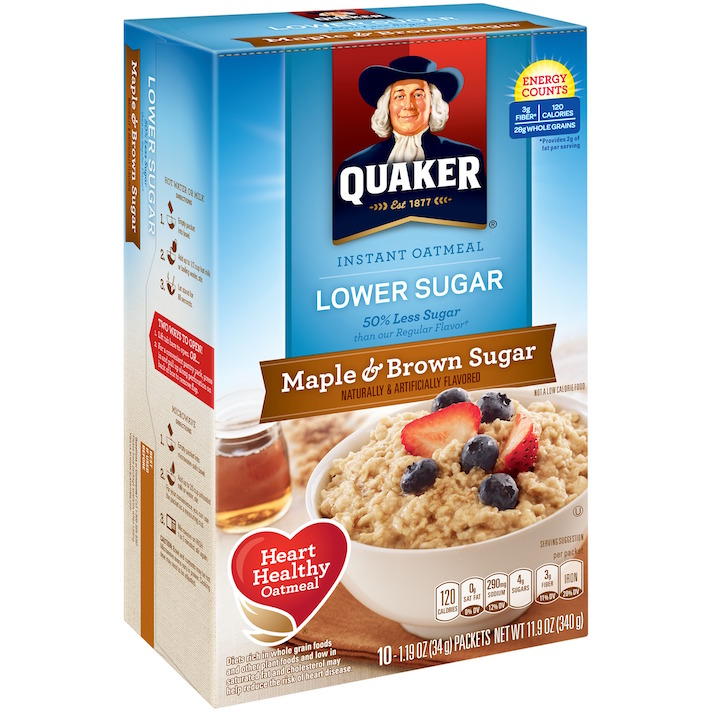 10 Instant Oatmeals That Aren't Packed With Sugar (& Your Kids Will Actually Eat): Quaker Lower Sugar Maple & Brown Sugar Instant Oatmeal