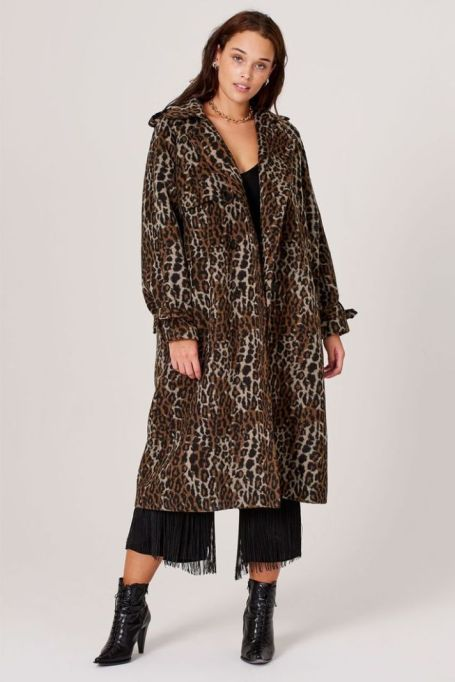 Avery Leopard Print Trench