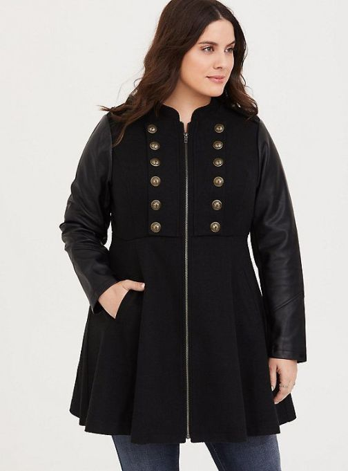 Black Mixed Media Military Coat
