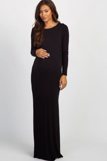 Ribbed Long-Sleeve Maxi-Dress in Black