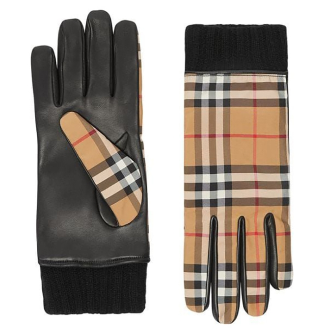 Burberry Cashmere-Lined Vintage Check Gloves