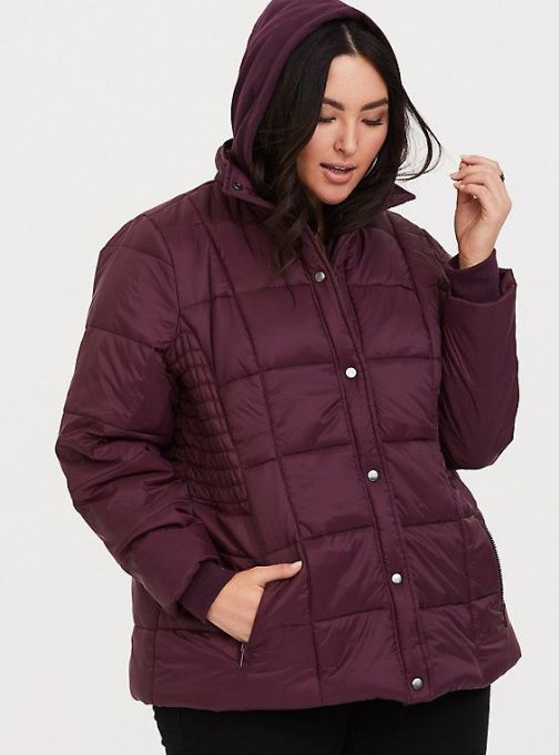 Burgundy Nylon Puffer Jacket