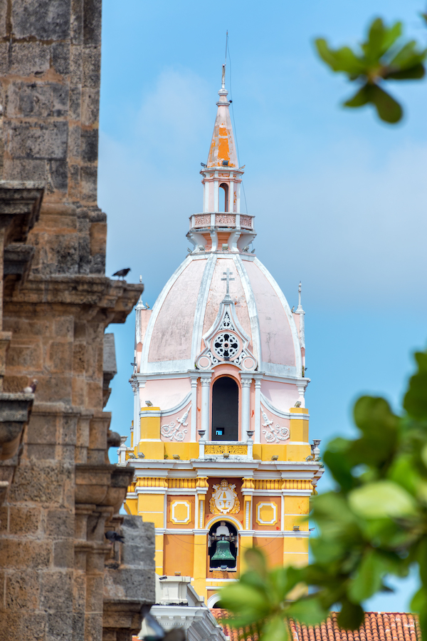 Closeup view of the dome of the dome of the Cathedral in Cartagena, Colombia
