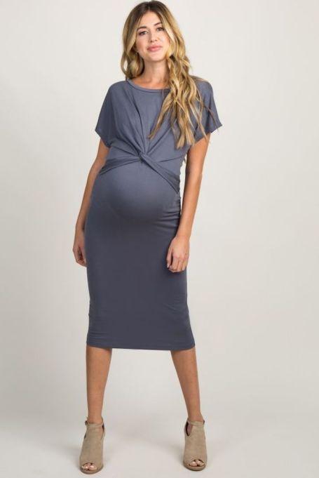 Charcoal Twist-Front Midi Dress