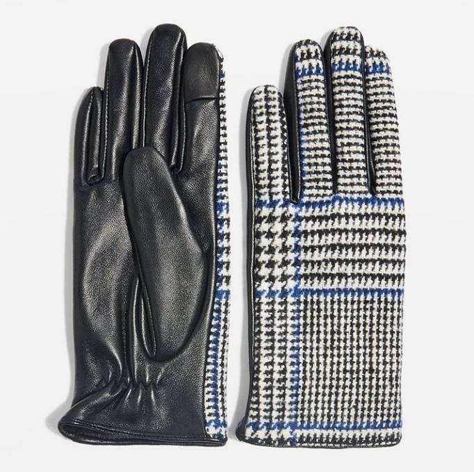 Check Leather Touchscreen Gloves