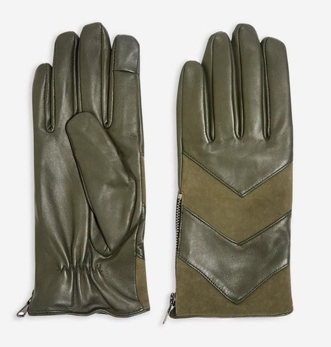 Chevron Leather Touchscreen Gloves