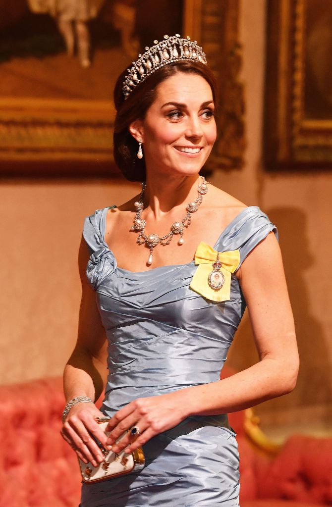 LONDON, ENGLAND - OCTOBER 23: Catherine, Duchess of Cambridge during a State Banquet at Buckingham Palace on October 23, 2018 in London, United Kingdom. King Willem-Alexander of the Netherlands accompanied by Queen Maxima are staying at Buckingham Palace during their two day stay in the UK. The last State Visit from the Netherlands was by Queen Beatrix and Prince Claus in 1982. (Photo by John Stillwell - WPA Pool/Getty Images)