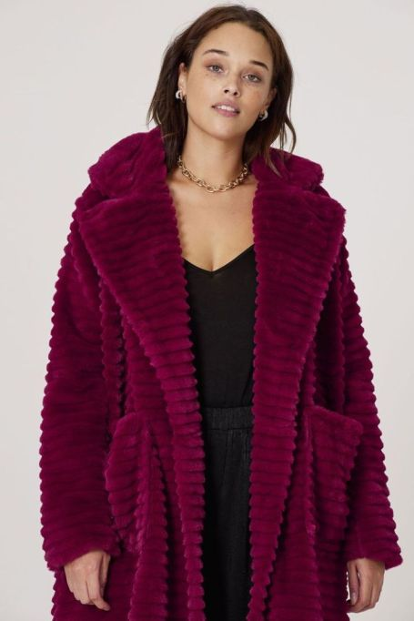 Danso Faux Fur Stripe Coat