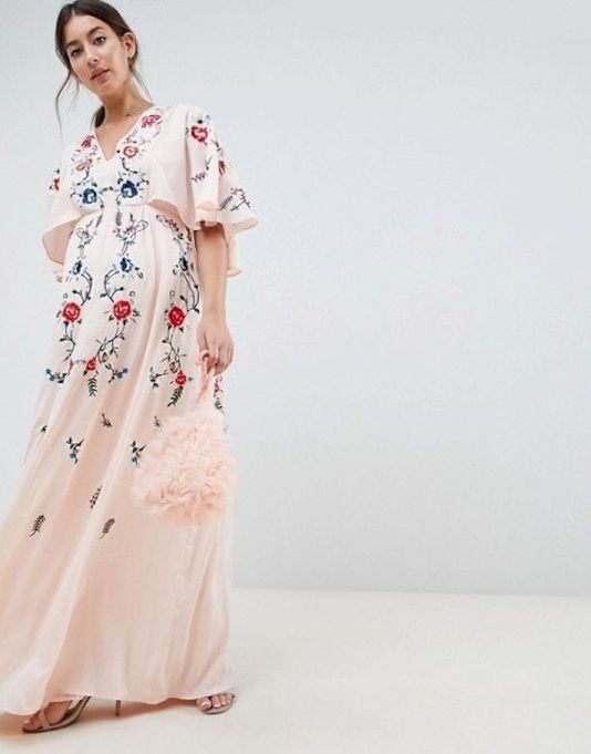 Embroidered Flutter Sleeve Maxi Dress
