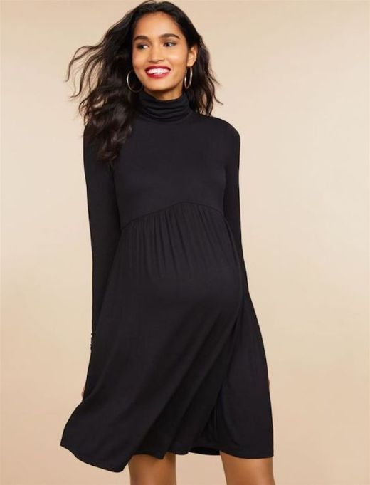 Fit and Flare Turtleneck Maternity Dress